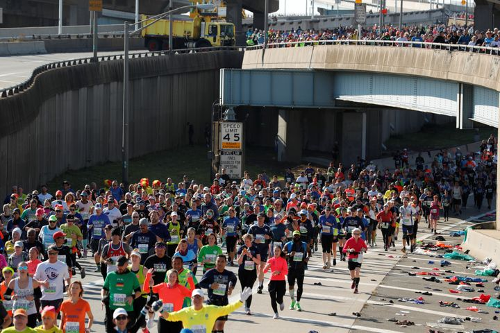 General view of race participants in action during the marathon.