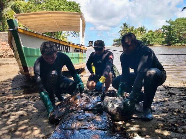 Equipe da Marinha recolhe óleo no rio Persinunga, Pernambuco, no sábado, dia 2 de novembro de