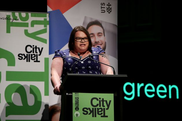 Jordan Raskopoulos speaks during the City of Sydney CityTalks event at Sydney Town