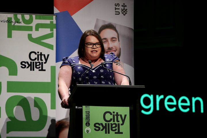 Jordan Raskopoulos speaks during the City of Sydney CityTalks event at Sydney Town Hall.