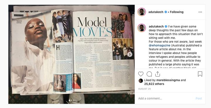In August Who magazine published a photo of model Flavia Lazarus and incorrectly identified it as Sudanese-Australian model Adut Akech.