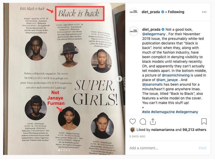 Last week Elle Germany came under fire for its 'Black is back' feature in which a photo of Naomi Chin Wing was used in place of model Janaye Furman.