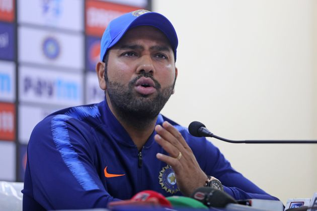 File Rohit Sharma addresses a press conference ahead of their first T20 international cricket match against...