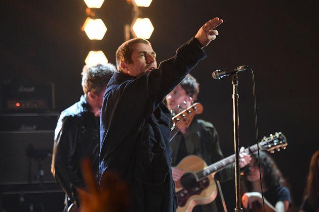 Liam Gallagher performs sur scène lors des MTV Europe Music Awards à Séville, dimanche...