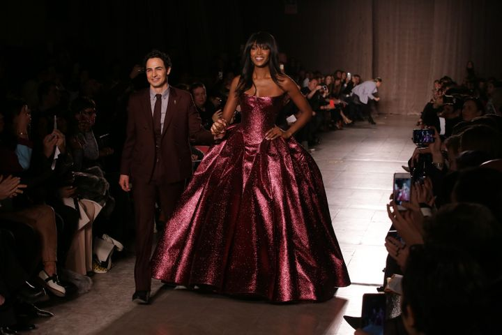 Posen and model Naomi Campbell walk the runway during the Zac Posen fashion show at Vanderbilt Hall on Feb. 16, 2015 in New York City.
