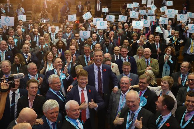 Farage introducing hundreds of Brexit Party election candidates at an event in