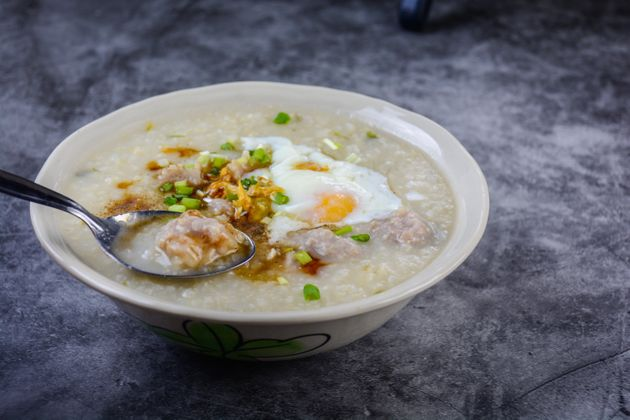 Congee, Rice porridge with minced pork, boiled egg, great for