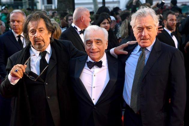 Al Pacino, Martin Scorsese e Robert De Niro em evento para promover o filme