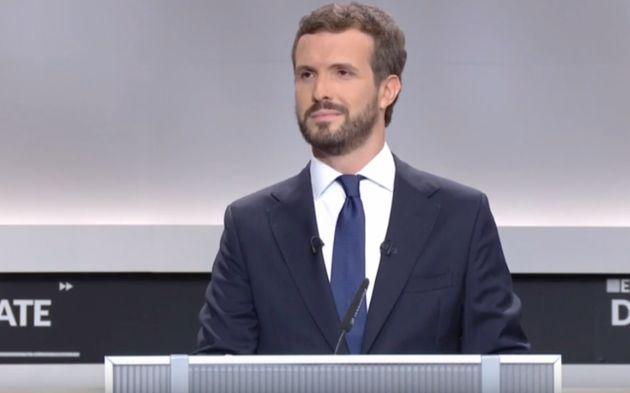 Pablo Casado durante el debate
