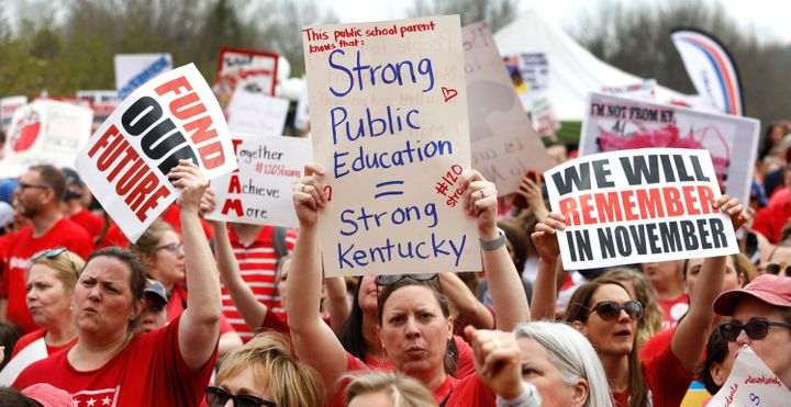"Kentucky Public school teachers rally for a ""day of action"" at the Kentucky State Capitol to try to pressure legislators to o"
