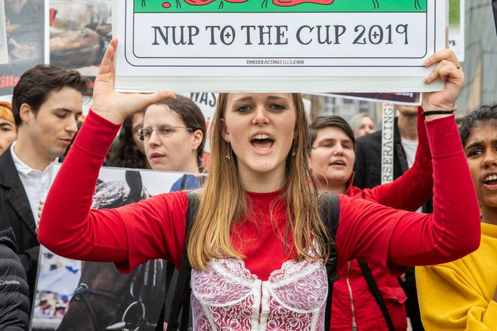Protestors gathered at the 2019 Melbourne Cup Parade at Federation Square on Monday ahead of the big racing event on Tuesday.