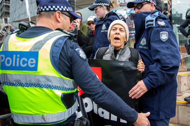 Protestors gathered at the 2019 Melbourne Cup Parade at Federation Square on Monday ahead of the big...