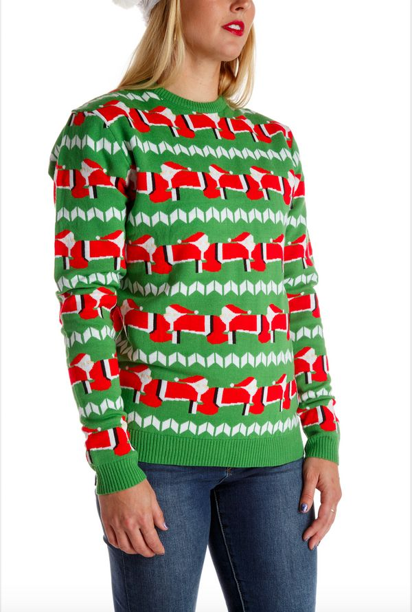 "<a href=""https://www.shinesty.com/products/ladies-santapede-christmas-sweater"" target=""_blank"">A sweater of Santas</a> with t"