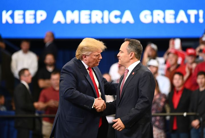 Republicans are hoping President Donald Trump, who is popular in Kentucky, can help GOP Gov. Matt Bevin, who is not popular i