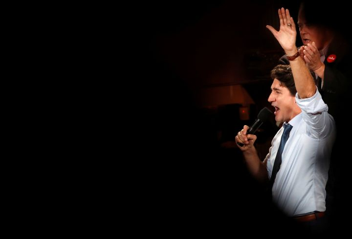 Liberal Leader Justin Trudeau takes part in an election rally in Victoria, B.C. on Oct. 20, 2019.