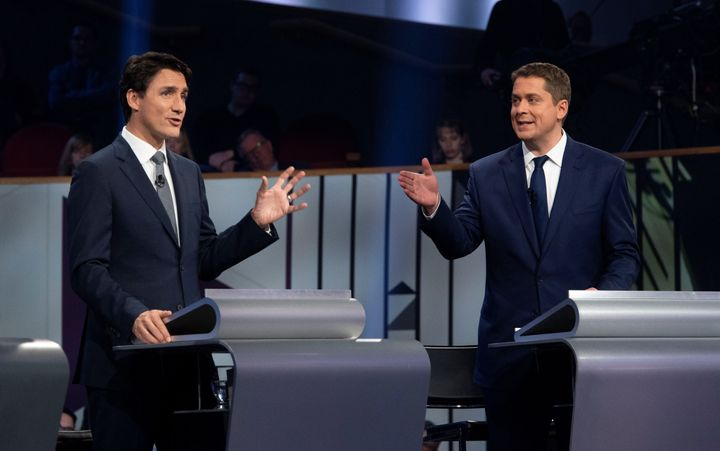 Liberal Leader Justin Trudeau and Conservative Leader Andrew Scheer take part in the federal leaders' French-language debate in Gatineau, Que. on Oct. 10, 2019.
