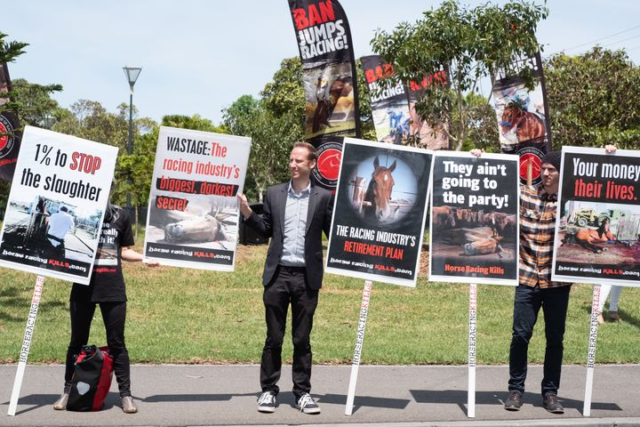 Racing protesters outside Flemington Racecourse in Melbourne on Tuesday.