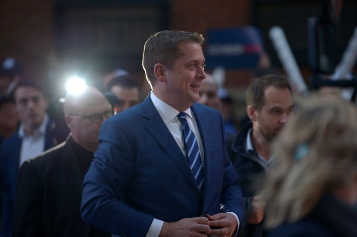 Conservative Leader Andrew Scheer arrives at the French televised debate at TVA in Montreal on Oct. 2, 2019.