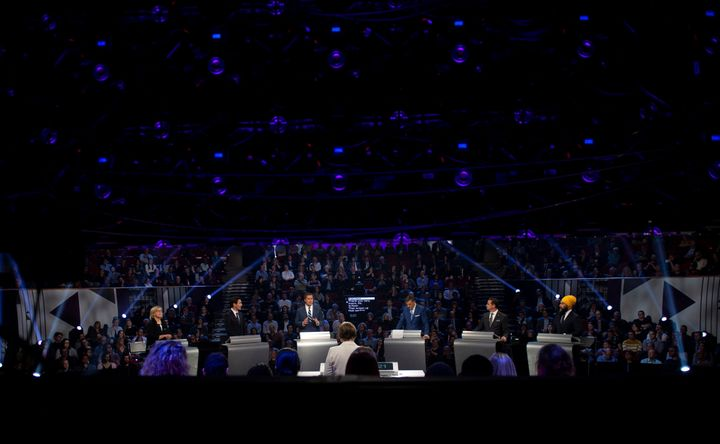 Six political party leaders participate in the English federal leaders' debate in Gatineau, Que., on Oct. 7, 2019.