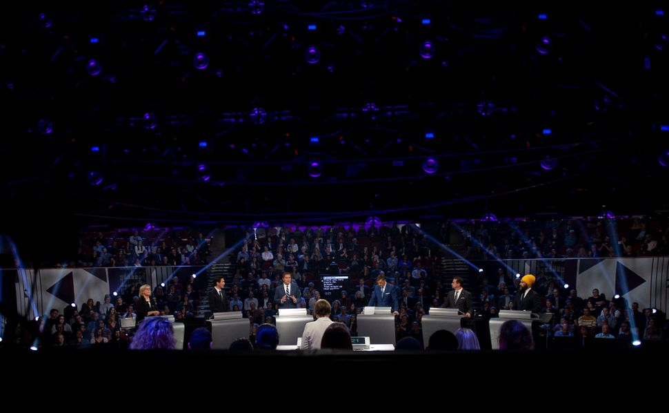Six political party leaders participate in the English federal leaders' debate in Gatineau, Que., on...