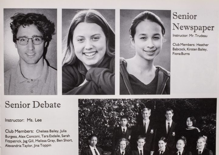 A photo of Justin Trudeau, top left, is seen in a 2000-01 yearbook from West Point Grey Academy, where he was a teacher in Vancouver.