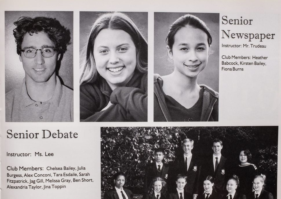 A photo of Justin Trudeau, top left, is seen in a 2000-01 yearbook from West Point Grey Academy, where...