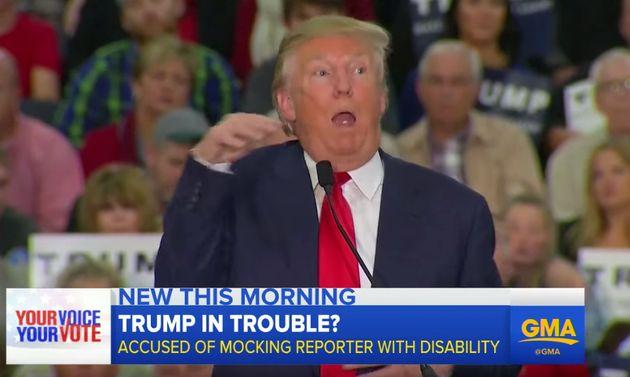 2015年、政治集会で障害のある記者のまねをしているトランプ大統領