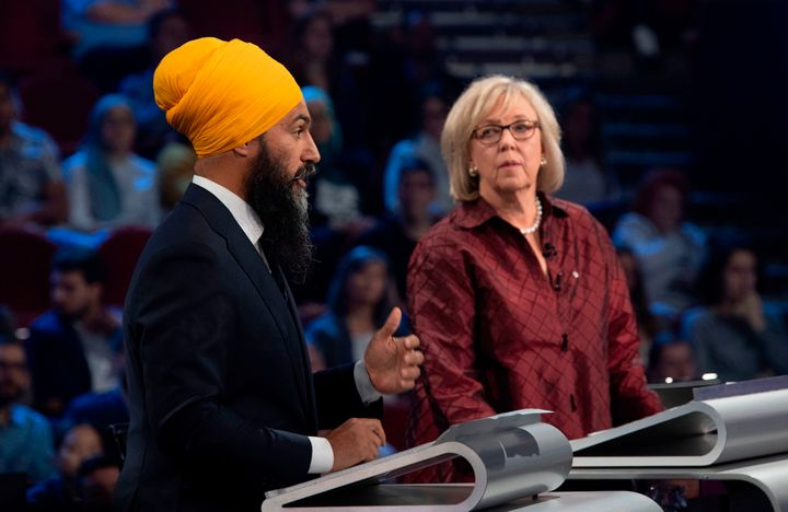 NDP Leader Jagmeet Singh and Green Party Leader Elizabeth May take part in the French-language federal leaders' debate in Gatineau, Que., on Oct. 10, 2019.