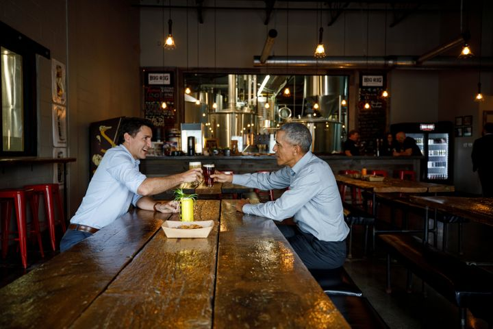 Prime Minister Justin Trudeau and former U.S. President Barack Obama meet at Big Rig brewery in Kanata, Ont. on May 31, 2019.