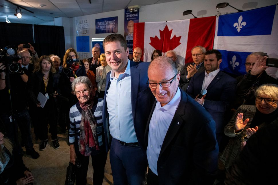 Conservative Leader Andrew Scheer campaigns in Trois-Rivieres, Que., on Oct. 15,