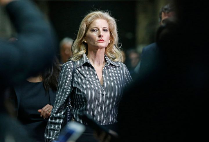 In this Dec. 5, 2017, file photo, Summer Zervos leaves Manhattan Supreme Court. Zervos claims Donald Trump forcibly groped an