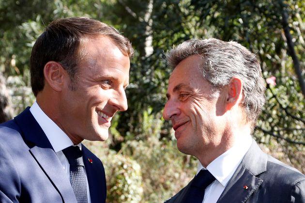 Emmanuel Macron et Nicolas Sarkozy lors de l'anniversaire du 75e anniversaire du débarquement de Provence,...