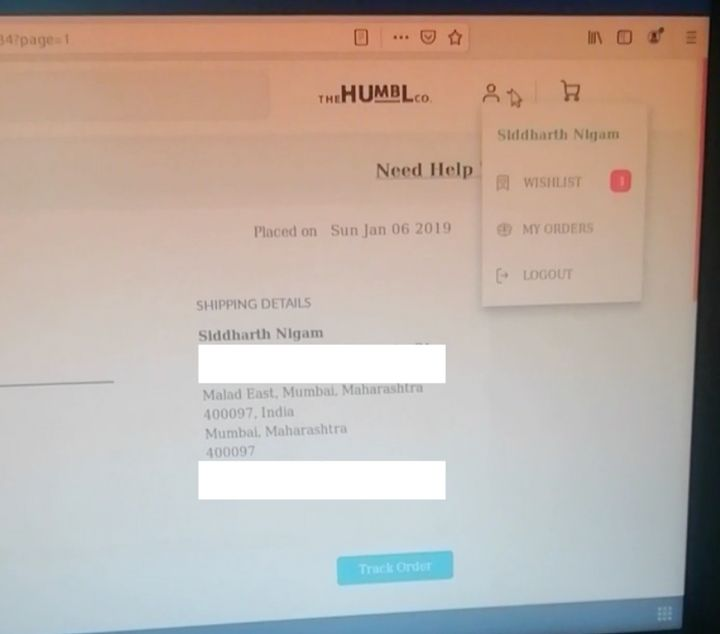 Screenshot of a video showing Alam gaining access to Siddharth Nigam's account, revealing his address, phone number, and email ID.