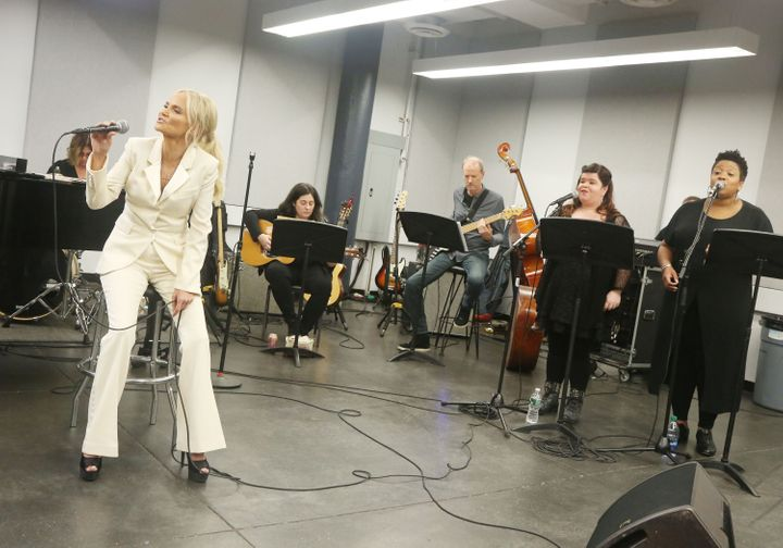 "Chenoweth, shown here in rehearsal, wants ""For The Girls"" to remind women to ""take charge."""