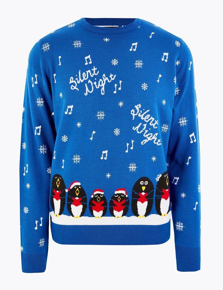 Christmas Singing Penguins Design Crew Neck Jumper, Marks & Spencer