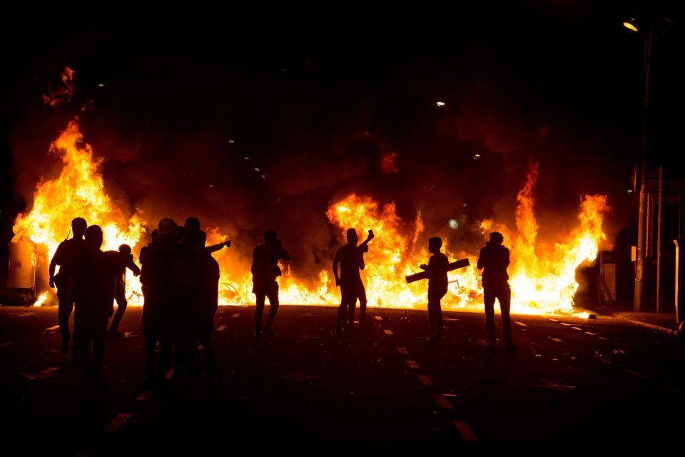Imagen de los disturbios en Barcelona tras la sentencia del
