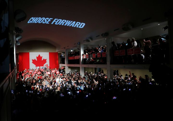 A huge turnout for a Liberal event in Milton, Ont. on Oct.19, 2019.