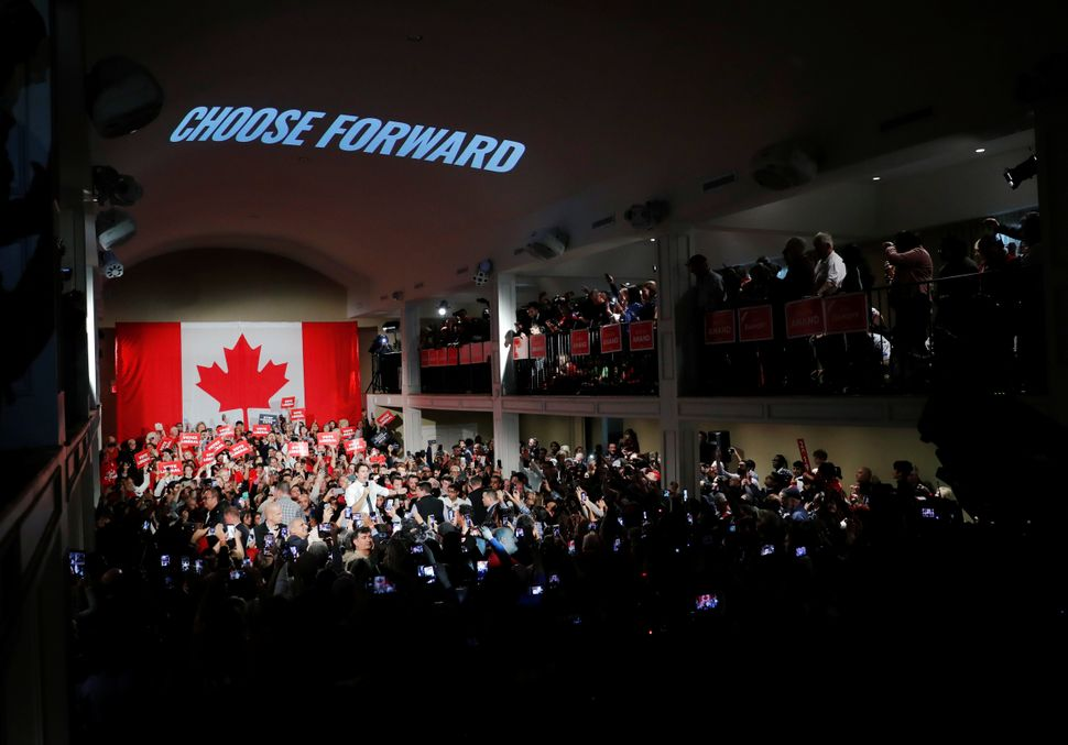 A huge turnout for a Liberal event in Milton, Ont. on Oct.19,
