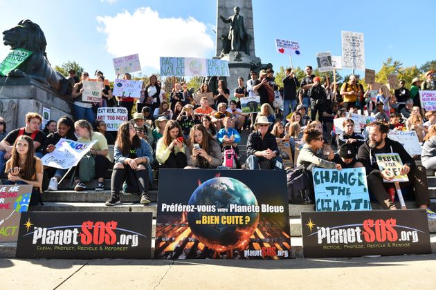 Young activists and their supporters rally for action on climate change on Sept. 27, 2019 in