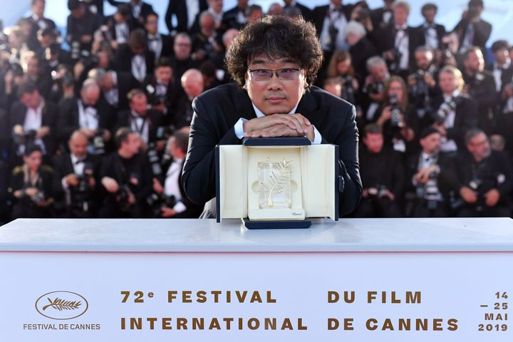 Bong Joon-ho with the prestigious Palme d'Or award at the Cannes Film Festival on May 25, 2019.