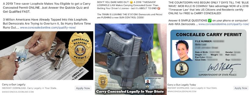 """A 2019 Time-saver Loophole Makes You Eligible to get a Carry Concealed Permit ONLINE,"" reads one of Concealed Online's 25,00"