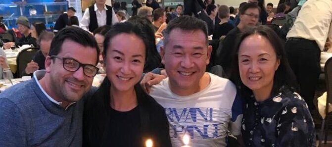 From left: Benoit and Angel Covillard with her parents Henry and Rainbow Zeng, who were the target of a racist remark this su