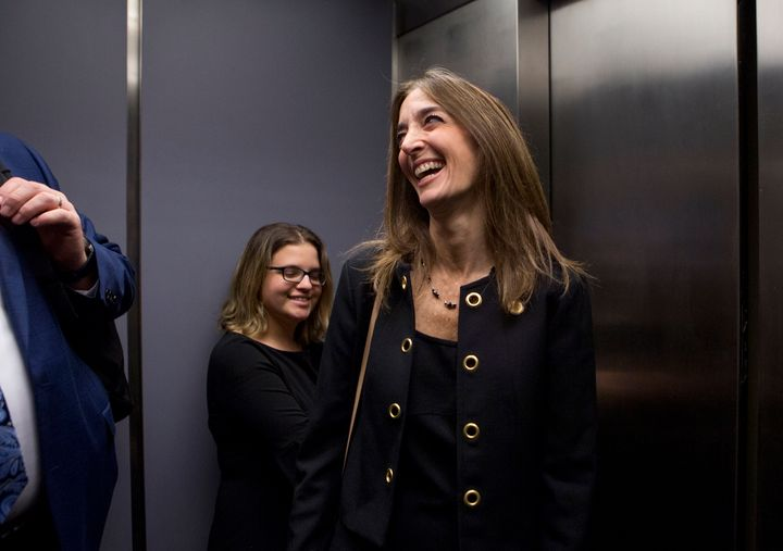 Democrat Eileen Filler-Corn of Fairfax County rides the elevator down from her office in the Pocahontas Building on December 18, 2018, in Richmond, Virginia. Filler-Corn was the Democrats' caucus leader in the House of Delegates and, since the party will now have a majority in the chamber, will be the first woman to serve as speaker in the body's 400-year history.
