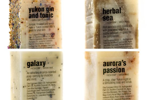 """From top left, clockwise: <a href=""""https://yukonsoaps.com/shop/yukon-gin-and-tonic/"""" role=""""link"""" rel=""""nofollow"""" data-ylk=""""subsec:paragraph;itc:0;cpos:__RAPID_INDEX__;pos:__RAPID_SUBINDEX__;elm:context_link"""">Yukon Gin And Tonic soap</a>, <a href=""""https://yukonsoaps.com/shop/herbal-sea/"""" role=""""link"""" rel=""""nofollow"""" data-ylk=""""subsec:paragraph;itc:0;cpos:__RAPID_INDEX__;pos:__RAPID_SUBINDEX__;elm:context_link"""">Herbal Sea soap</a>, <a href=""""https://yukonsoaps.com/shop/auroras-passion/"""" role=""""link"""" rel=""""nofollow"""" data-ylk=""""subsec:paragraph;itc:0;cpos:__RAPID_INDEX__;pos:__RAPID_SUBINDEX__;elm:context_link"""">Aurora's Passion soap</a>, <a href=""""https://yukonsoaps.com/shop/galaxy/"""" role=""""link"""" rel=""""nofollow"""" data-ylk=""""subsec:paragraph;itc:0;cpos:__RAPID_INDEX__;pos:__RAPID_SUBINDEX__;elm:context_link"""">Galaxy soap</a>"""