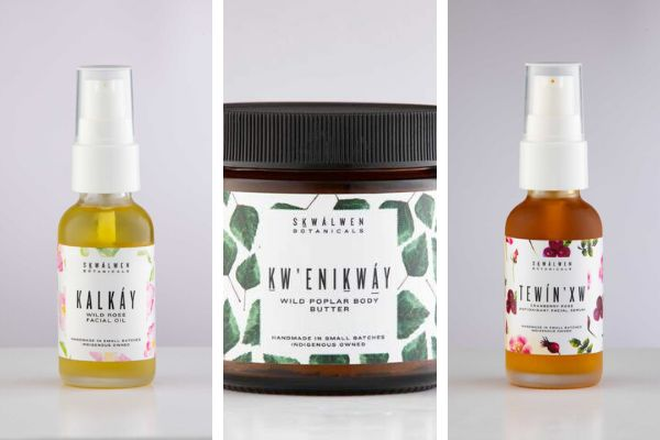 """Left to right: <a href=""""https://skwalwen.com/collections/kalkay/products/kalkay-wild-rose-facial-oil"""" role=""""link"""" rel=""""nofollow"""" data-ylk=""""subsec:paragraph;itc:0;cpos:__RAPID_INDEX__;pos:__RAPID_SUBINDEX__;elm:context_link"""">Kalkay Wild Rose Facial Oil</a>, <a href=""""https://skwalwen.com/collections/kw-enikway-wild-poplar/products/kw-enikway-wild-poplar-whipped-body-butter"""" role=""""link"""" rel=""""nofollow"""" data-ylk=""""subsec:paragraph;itc:0;cpos:__RAPID_INDEX__;pos:__RAPID_SUBINDEX__;elm:context_link"""">Kw'enikway Wild Poplar Whipped Body Butter</a>, <a href=""""https://skwalwen.com/collections/tewin-xw-cranberry-rose/products/tewin-xw-cranberry-rose-antioxidant-facial-serum"""" role=""""link"""" rel=""""nofollow"""" data-ylk=""""subsec:paragraph;itc:0;cpos:__RAPID_INDEX__;pos:__RAPID_SUBINDEX__;elm:context_link"""">Tewin'xw Cranberry Rose Antioxidant Facial Serum</a>"""