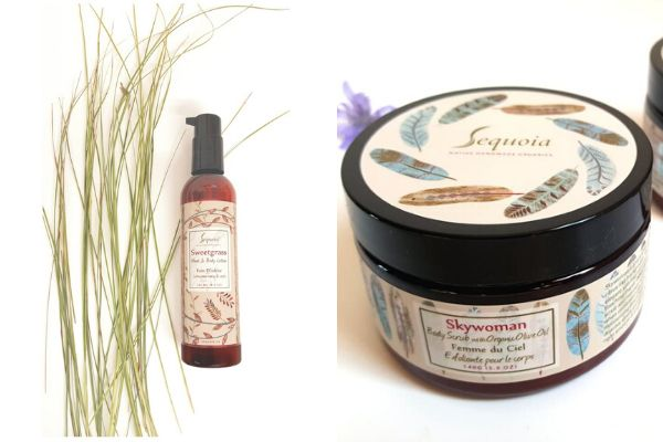 "<a href=""https://sequoiasoaps.com/collections/body/products/sweetgrass-lotion"" target=""_blank"" rel=""noopener noreferrer"">Sweetgrass Lotion</a>,<a href=""https://sequoiasoaps.com/collections/body/products/skywoman-body-scrub"" target=""_blank"" rel=""noopener noreferrer""> Skywoman Body Scrub</a>"