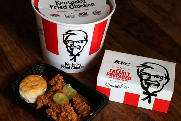 Kentucky Fried Chicken bucket and box of chicken pictured on April 6,