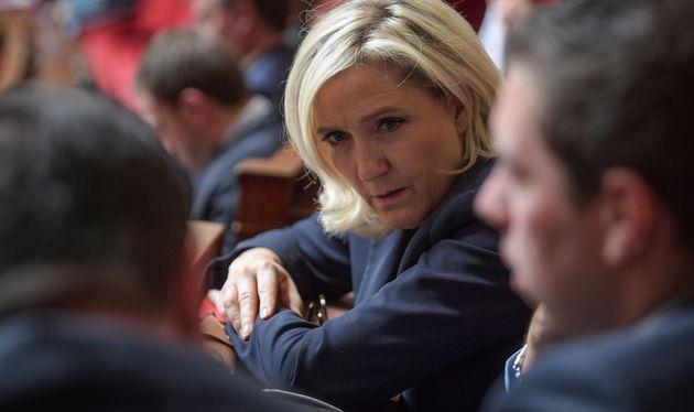 La présidente du Rassemblement national Marine Le Pen, ici à l'Assemblée nationale...