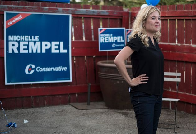 Conservative MP Michelle Rempel kicks off her re-election campaign with supporters in Calgary, Alta.,...