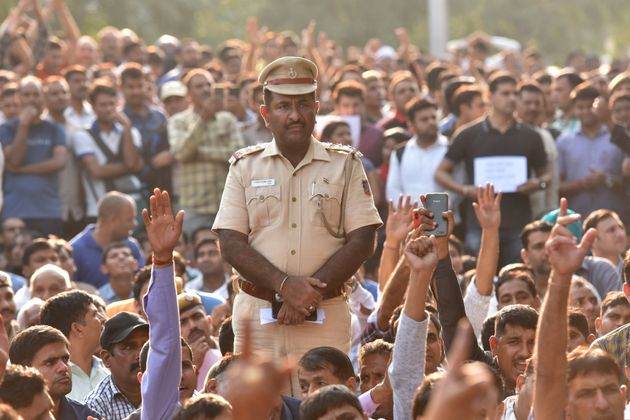 Delhi police personnel of all ranks protes against lawyers after their recent scuffle at Tis Hazari and...